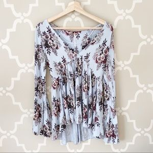 NWT Free People Speak Easy Blue Floral Tunic
